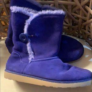 New SO Womens Faux Suede Faux Fur Boots 9 Purple
